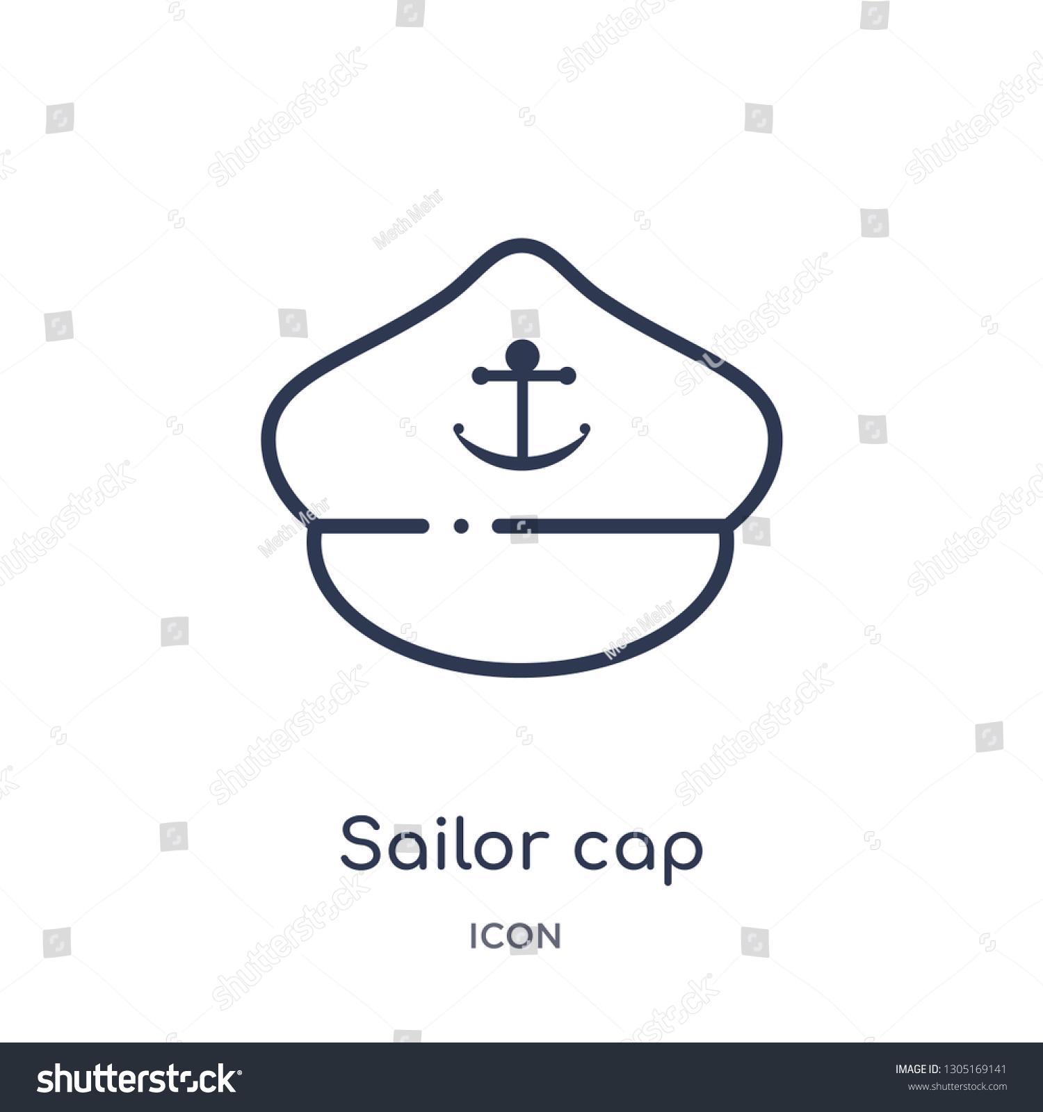 18ac36a9f Sailor Cap Icon Nautical Outline Collection Stock Vector (Royalty ...