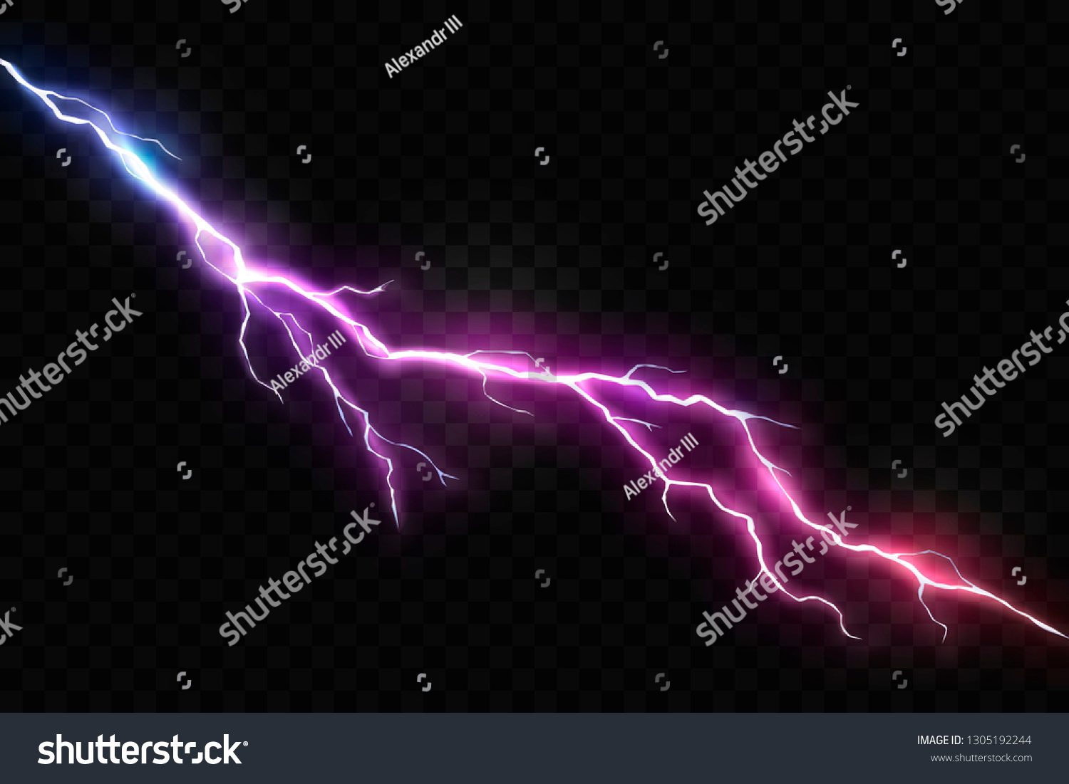 Vector Realistic Lightning Glowing Thunder Bolt Stock Vector Royalty Free 1305192244