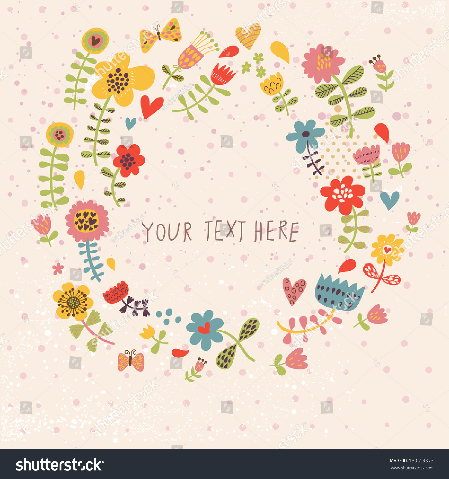Cute spring flower - Spring Floral Background In Vector Made Of Cute Cartoon Flowers