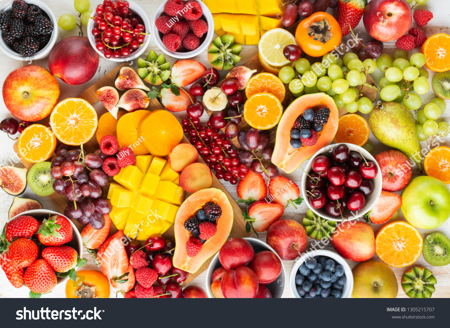 Healthy Platter Cut Colorful Rainbow Fruits Stock Photo Edit Now 1305215707
