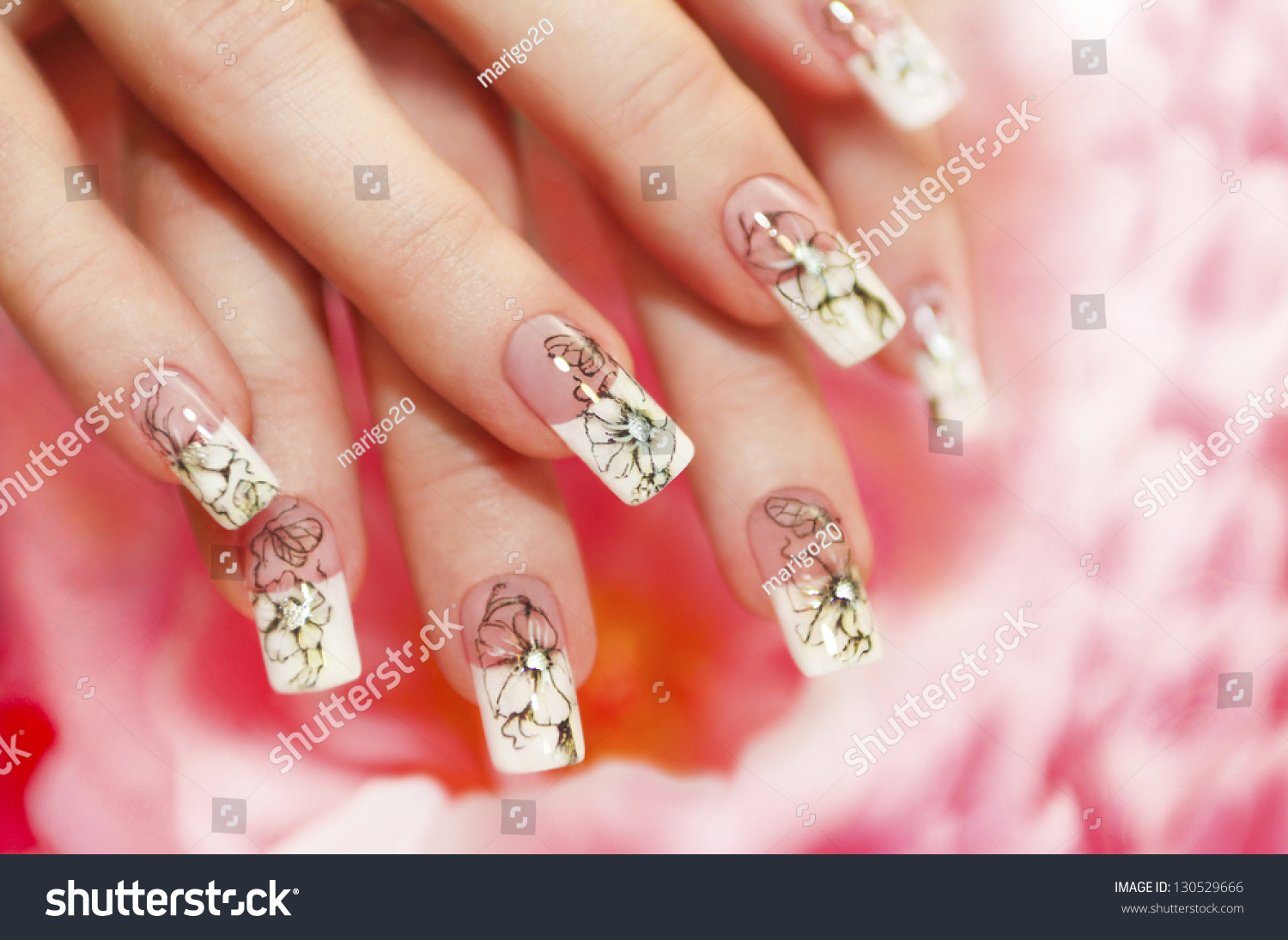 Floral French Manicure On Pink White Stock Photo (Royalty Free ...