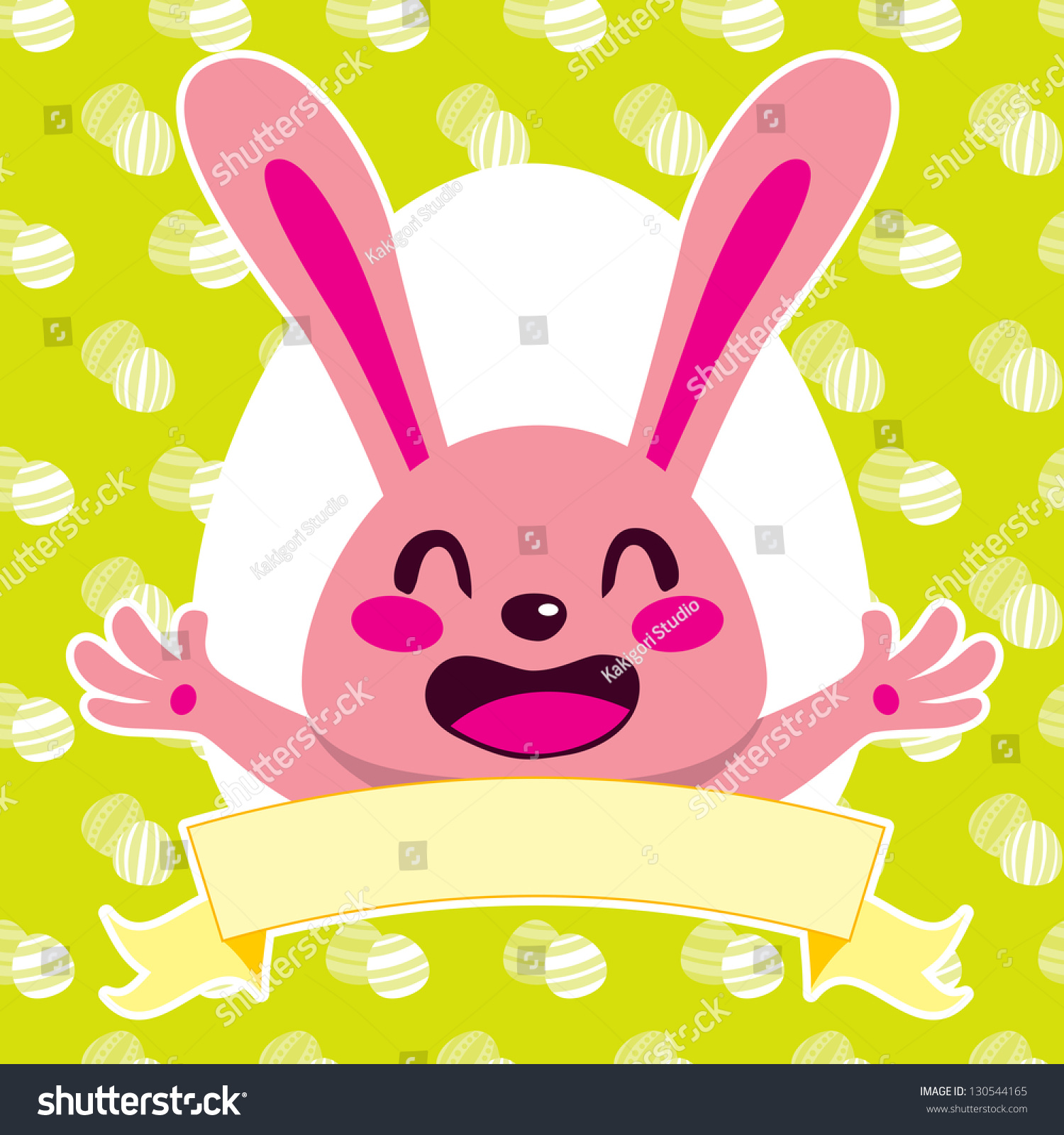 happy pink easter bunny cartoon character stock illustration