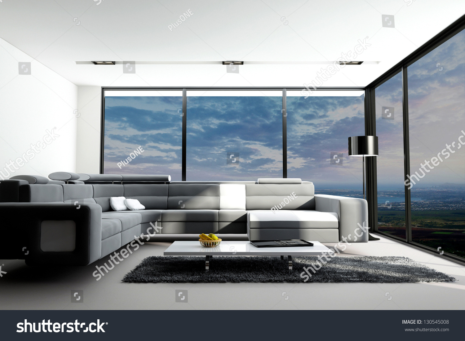 Living room with landscape view 3d interior architecture for Living room 3d view
