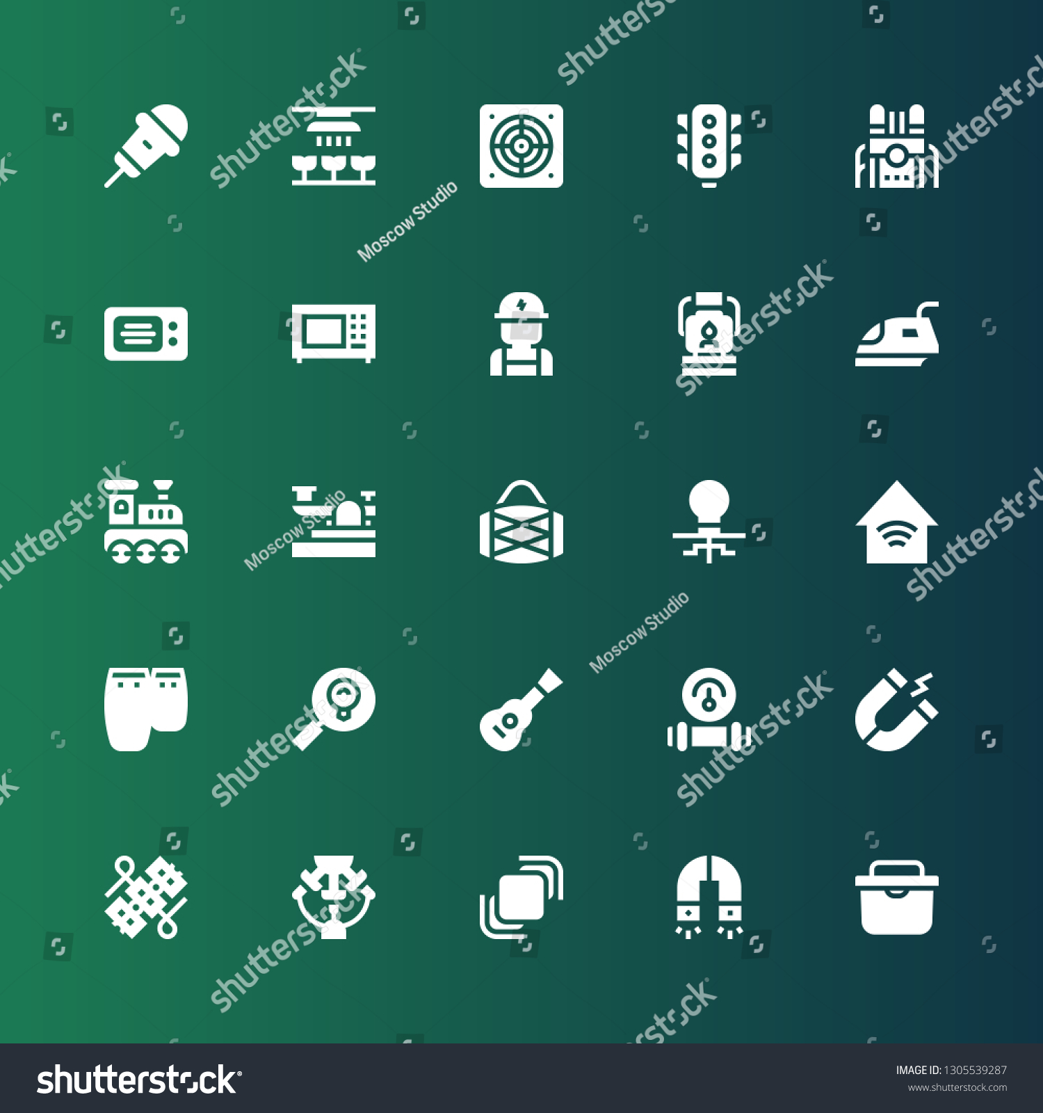 Electric Icon Set Collection 25 Filled Stock Vector Royalty
