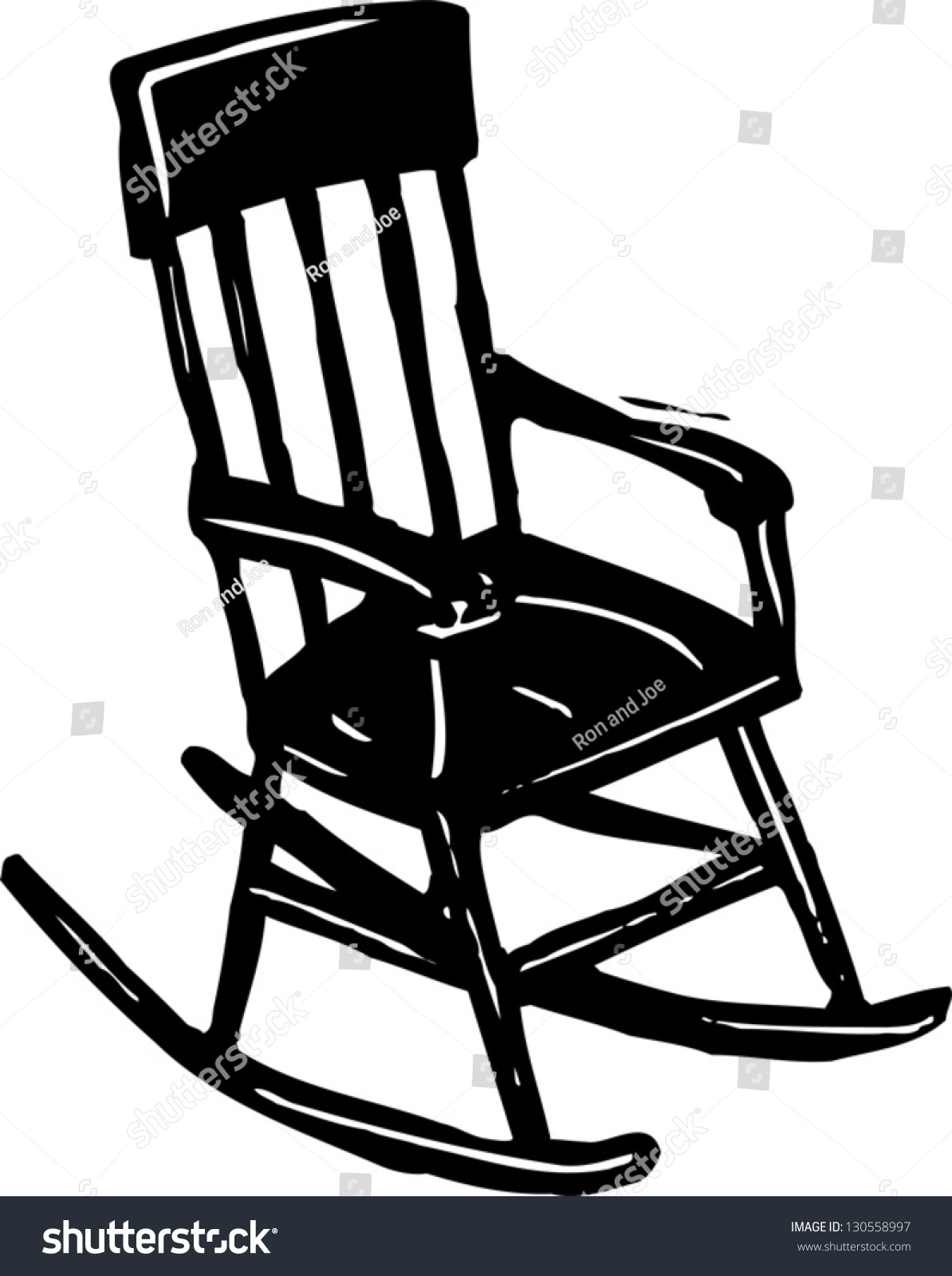 Black White Vector Illustration Rocking Chair Stock Vector ...