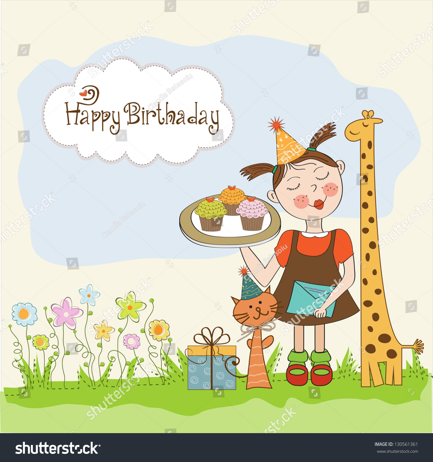 Happy Birthday Card Funny Girl Animals Vector 130561361 – Funny Girl Birthday Cards