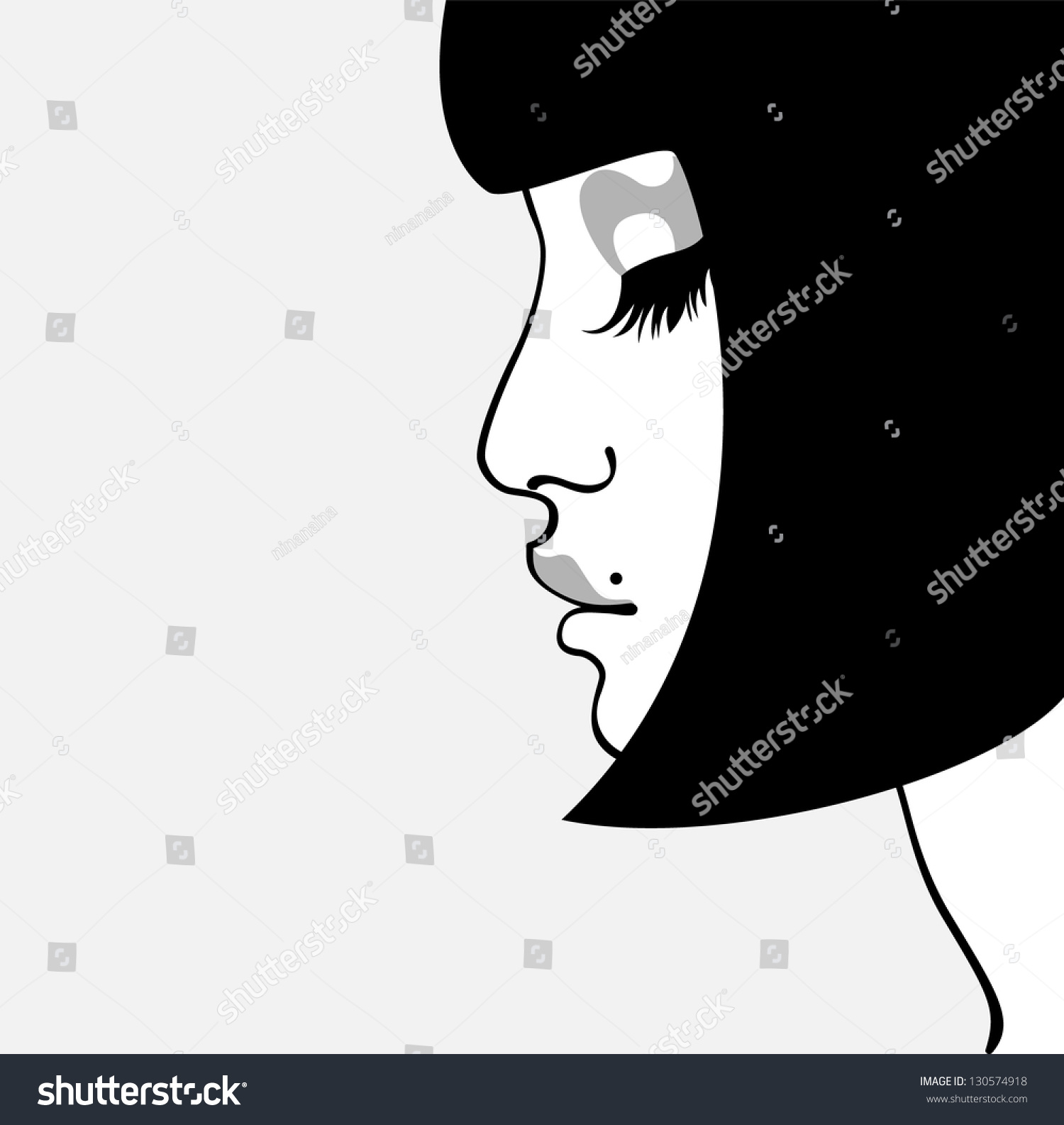 Woman Face Profile Silhouette Stock Vector 130574918