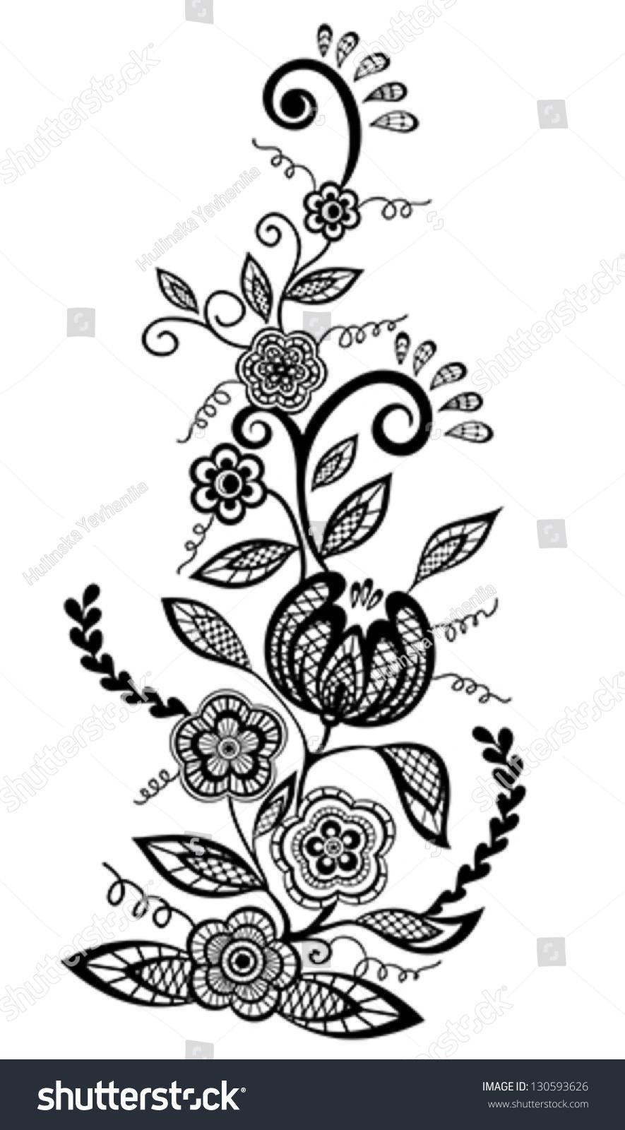 Beautiful Floral Element Blackandwhite Flowers Leaves Stock Vector