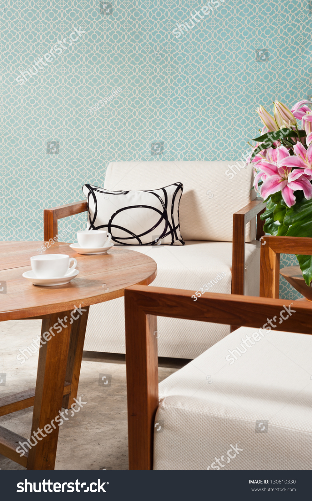 Brown White Furniture Living Room Turquoise Stock Photo 130610330 Shutterstock