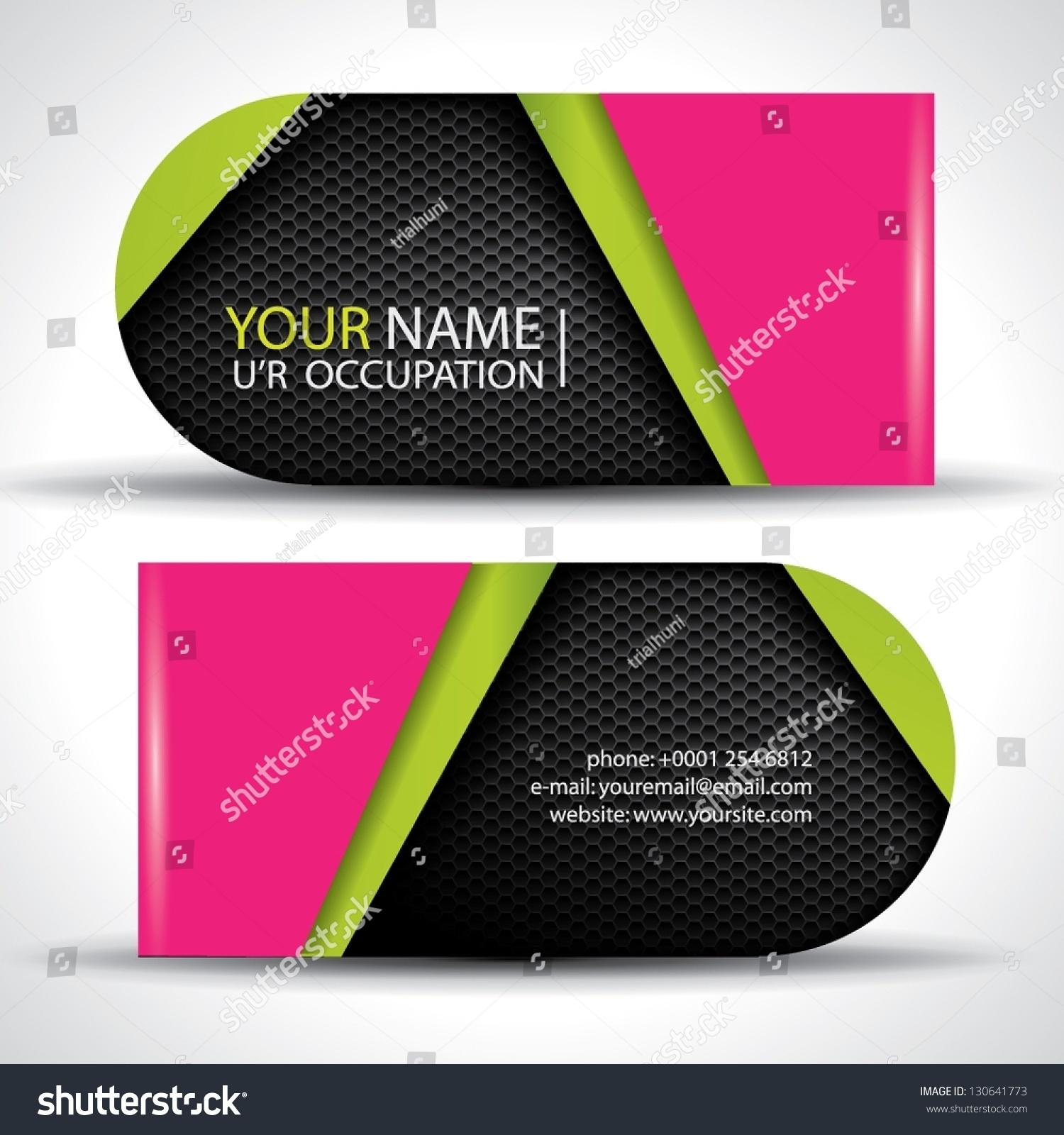 Vector Business Card Green Pink Black Stock Vector 130641773 ...