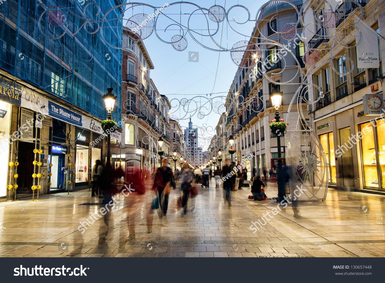 Malaga Spain November 20 Calle Larios Stock Photo