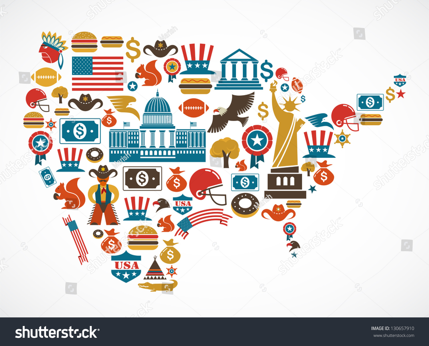 America Map Many Vector Icons Stock Vector  Shutterstock - Usa map and landmarks