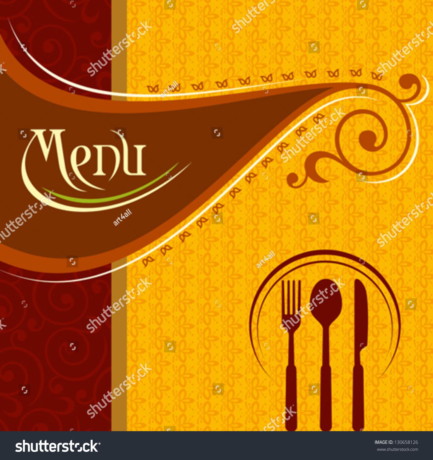 Illustration Template Menu Card Cutlery Stock Vector 130658126 ...