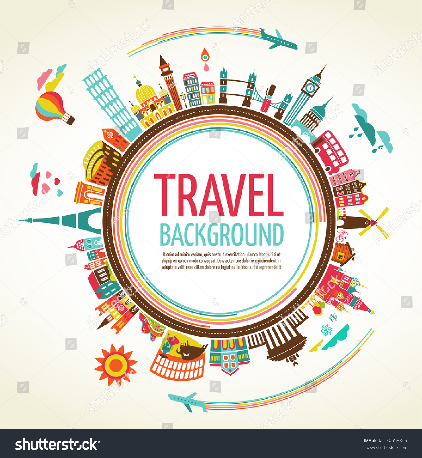 Travel Tourism Background Infographic Stock Vector