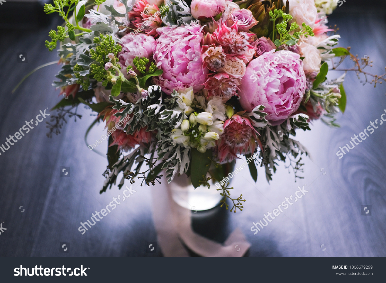 Big Beautiful Wedding Bouquet Spring Flowers Stock Photo Edit Now 1306679299