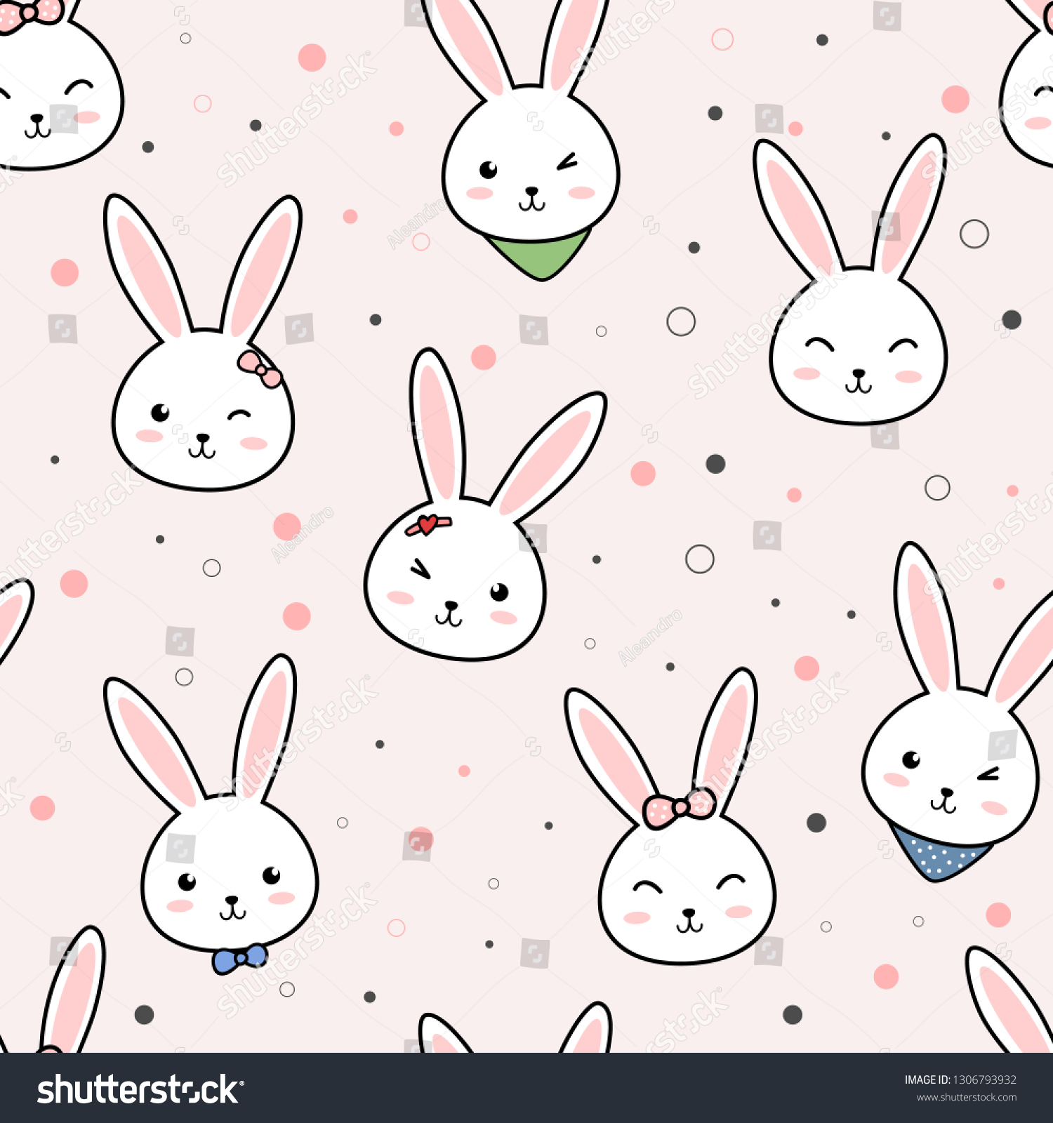 Cute Adorable Kawaii Rabbit Bunny Head Stock Vector Royalty Free