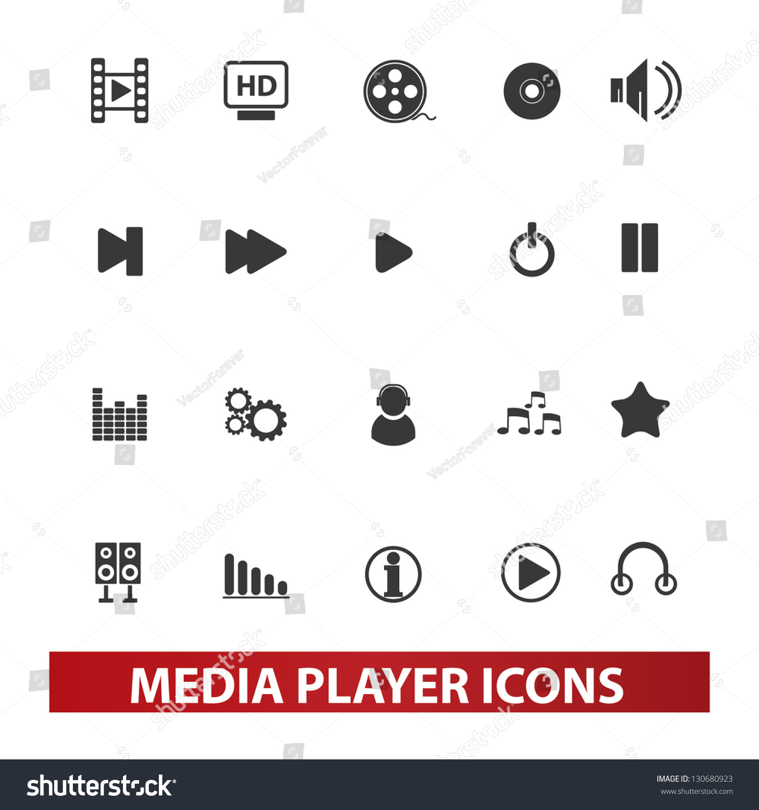 Media Player Icons Set...