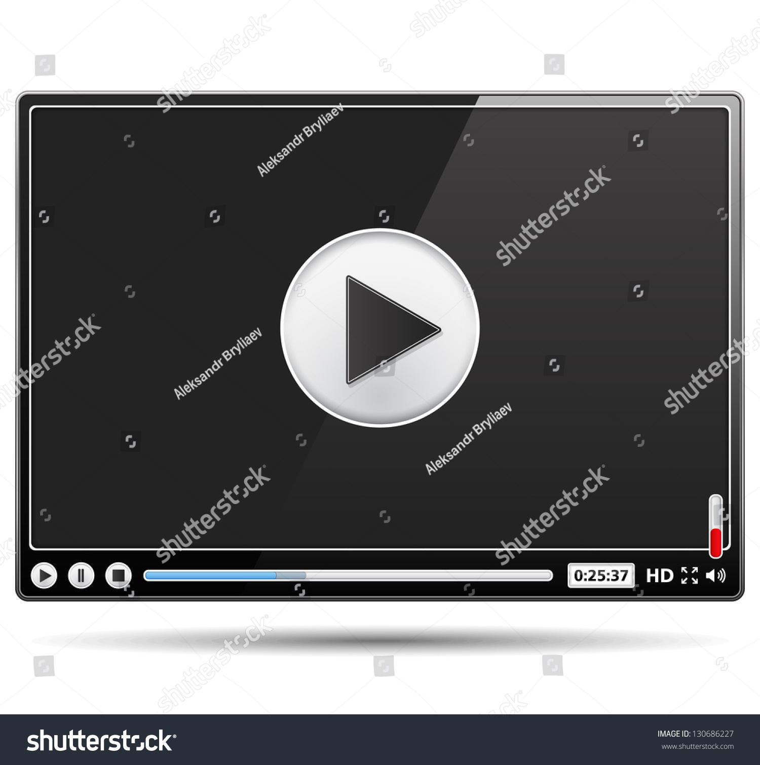 Black Glossy Video Player Template On Stock Vector 130686227 ...