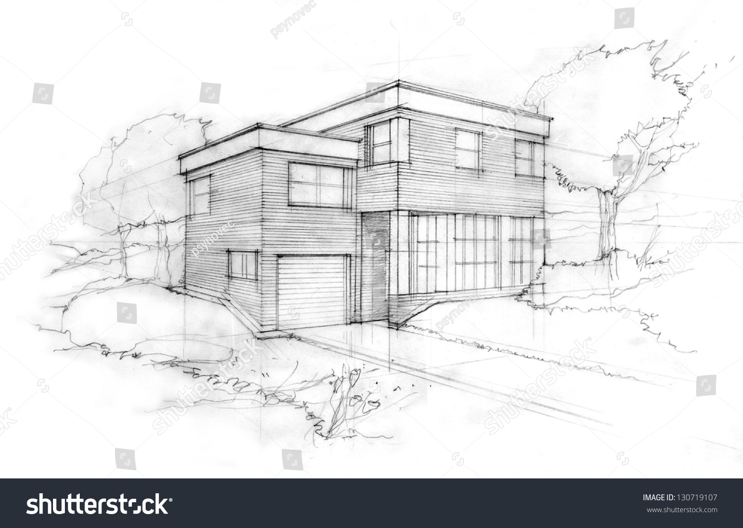 Sketch Modern ubic House First Idea Stock Illustration 130719107 ... - ^