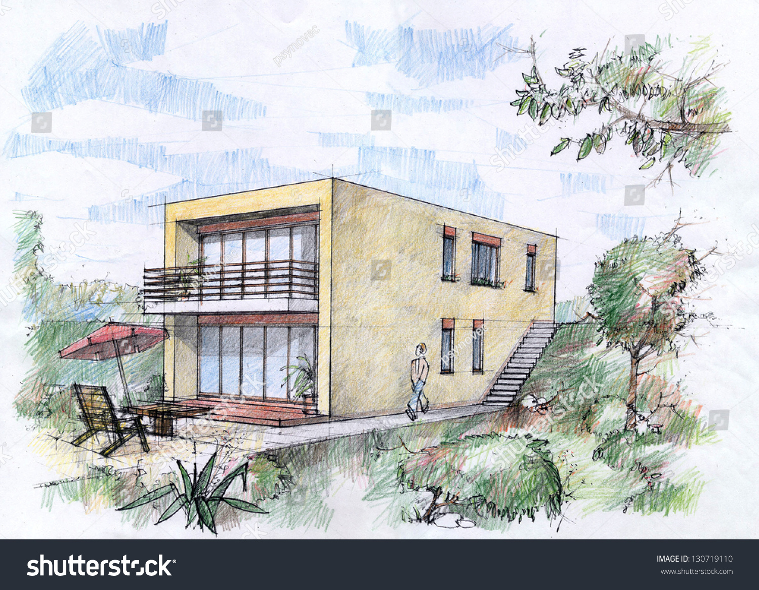 Modern House Sketch By Pencils. Stock Photo 130719110 : Shutterstock - ^