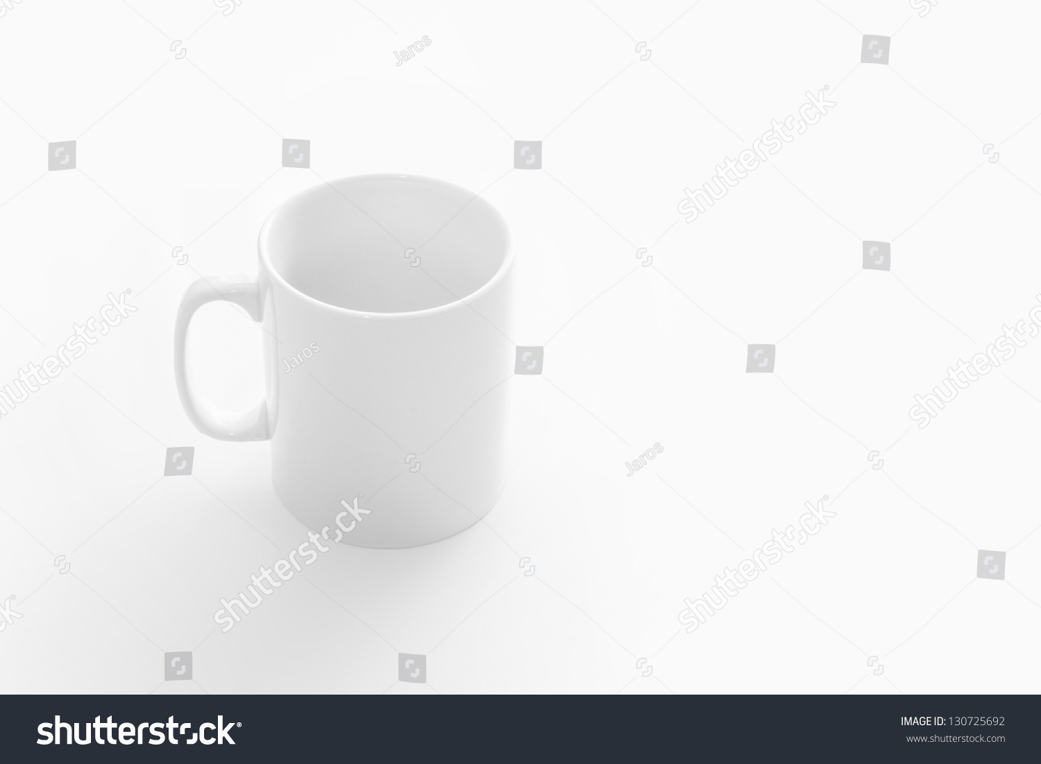 Big White Empty Cup On White Table Front Top View Stock Photo