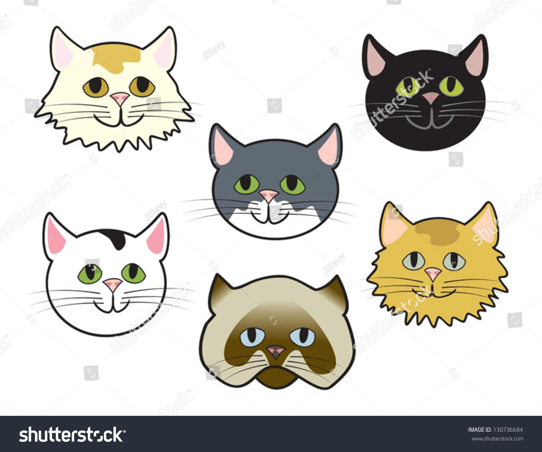 six cute cartoon cat faces various stock vector 130736684