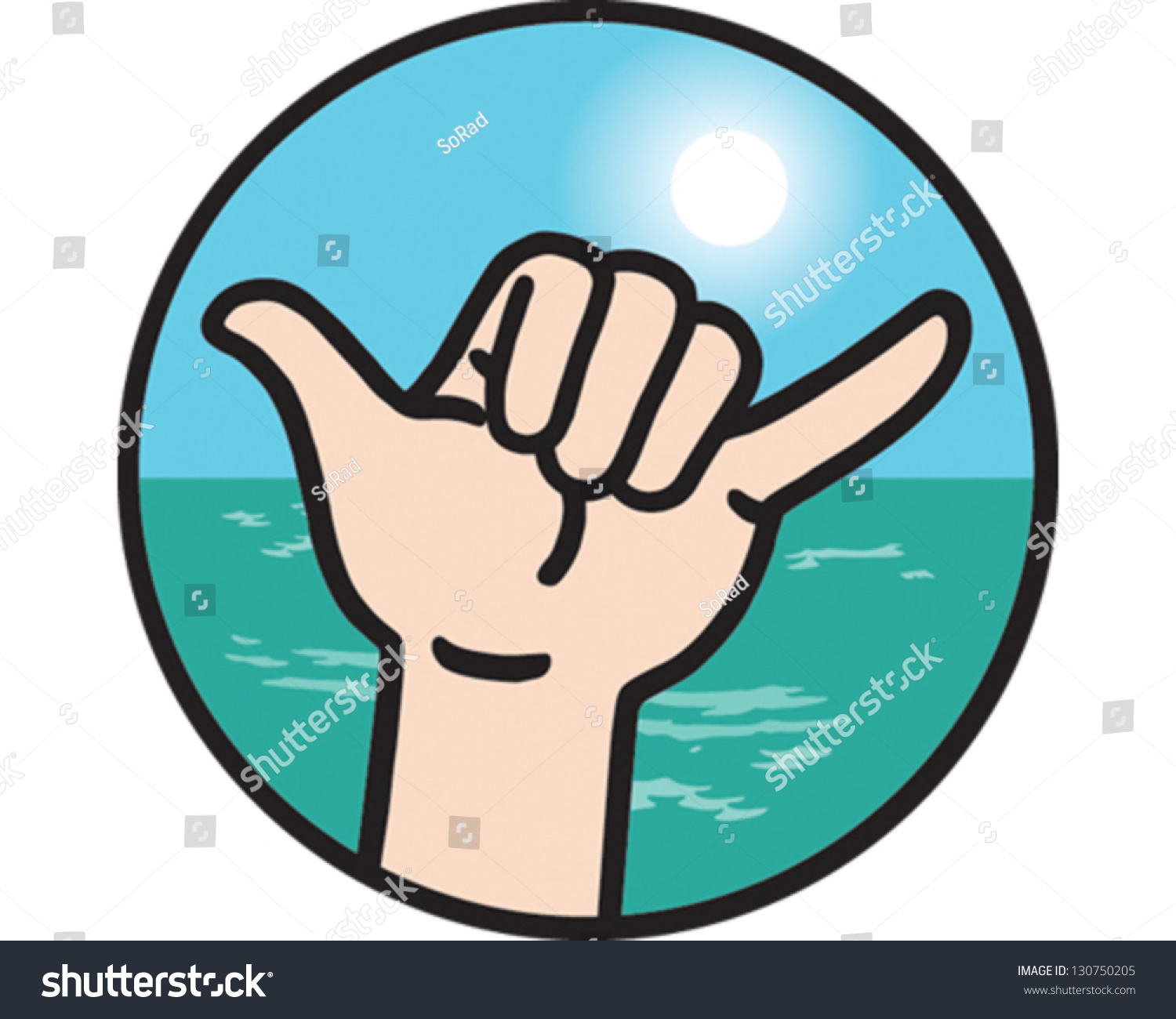 Hang Loose Hand Signal Stock Vector Royalty Free 130750205