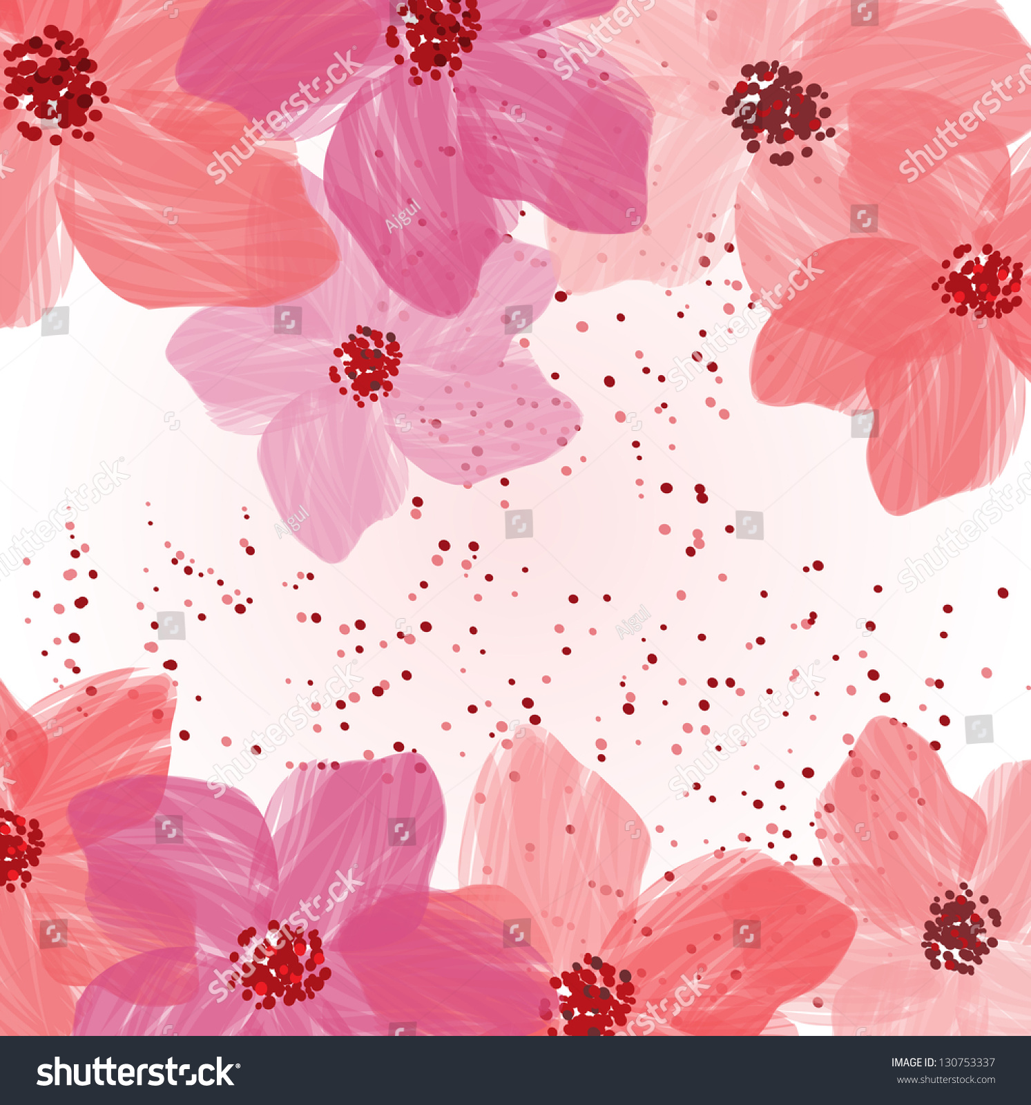 Stylized Pink Flowers Abstract Floral Background Stock Vector