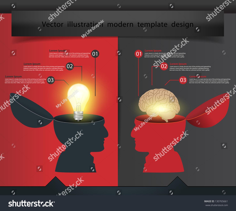 30 Creative Open Concept: Creative Open Hand Light Bulb Brain Stock Vector 130765661
