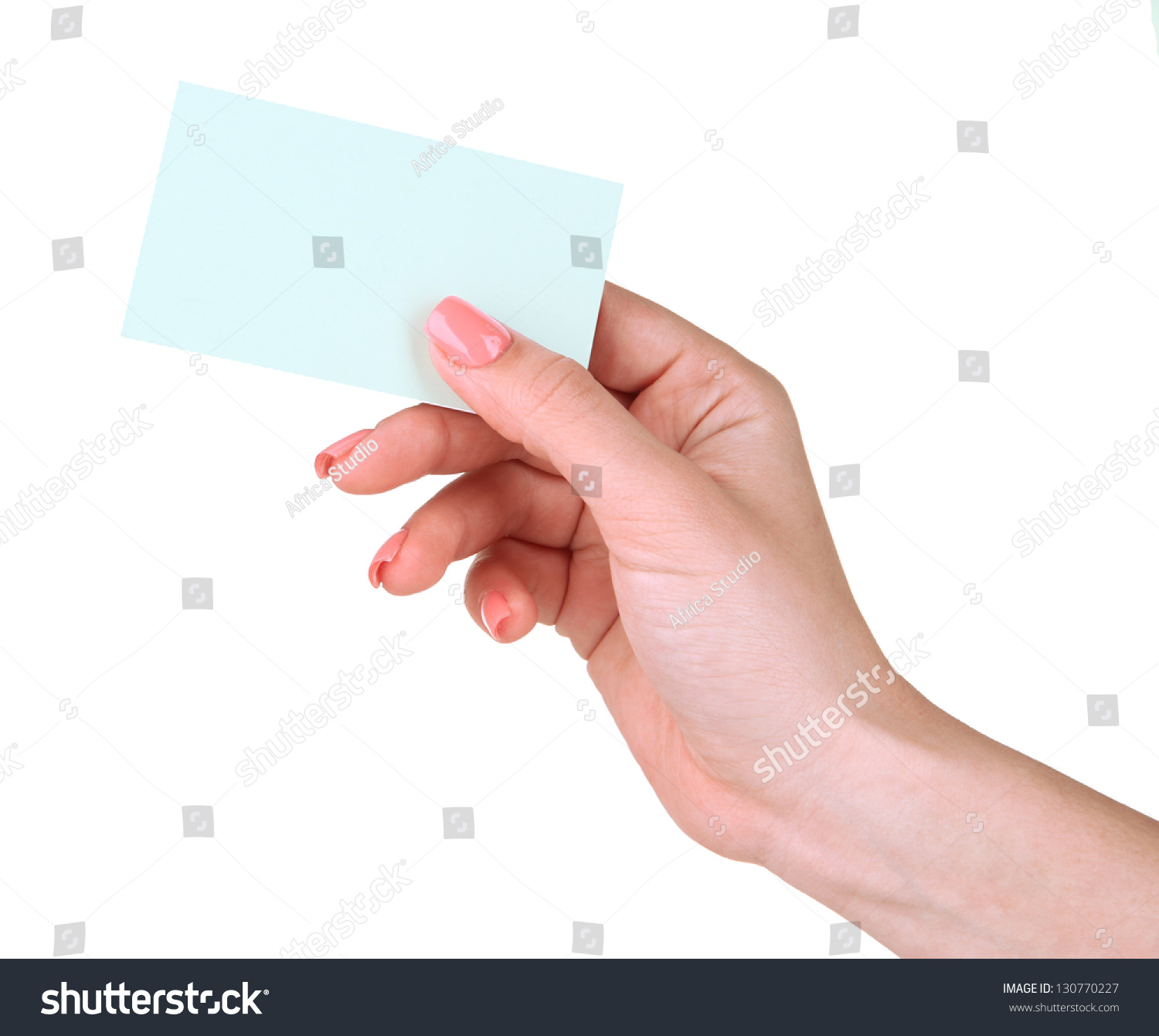 Female Hand Holding Business Card Isolated Stock Photo 130770227 ...