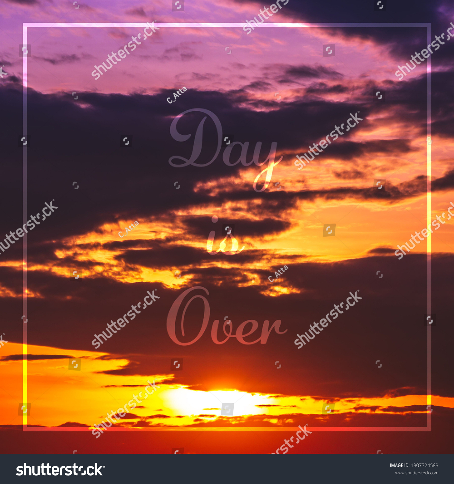 Abstract quotes in white frame with colorful twilight sky sunrise background