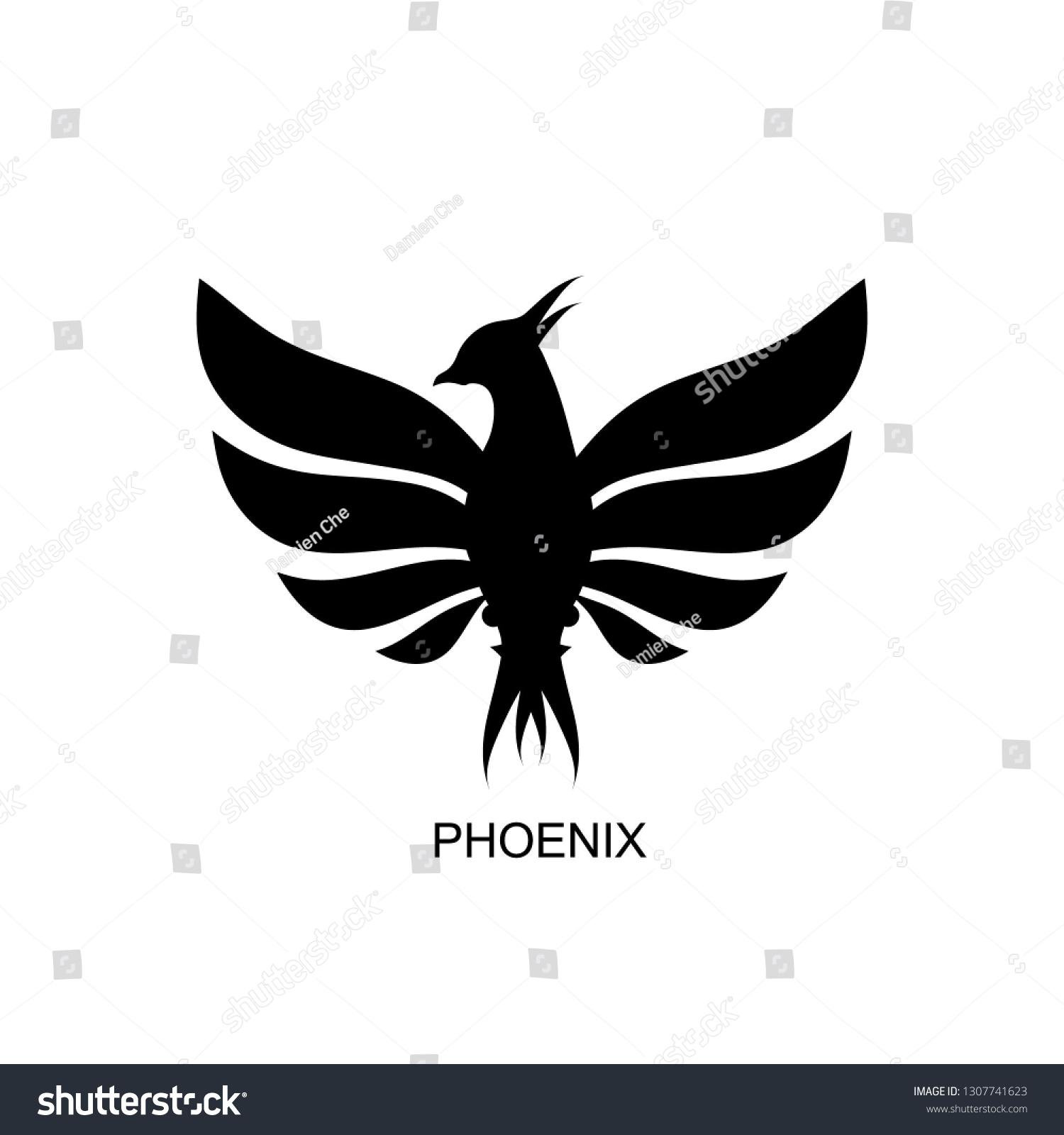 View Phoenix Bird Logo Black PNG