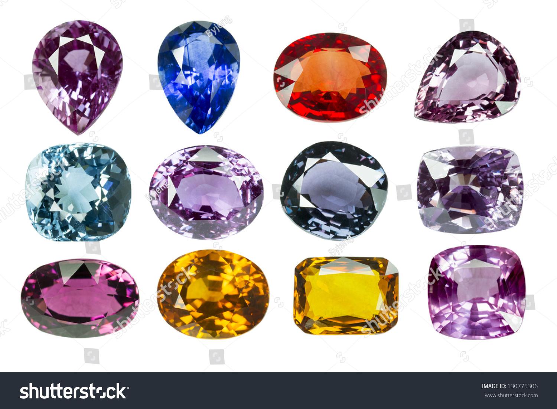 bright gems on white background stock photo 130775306