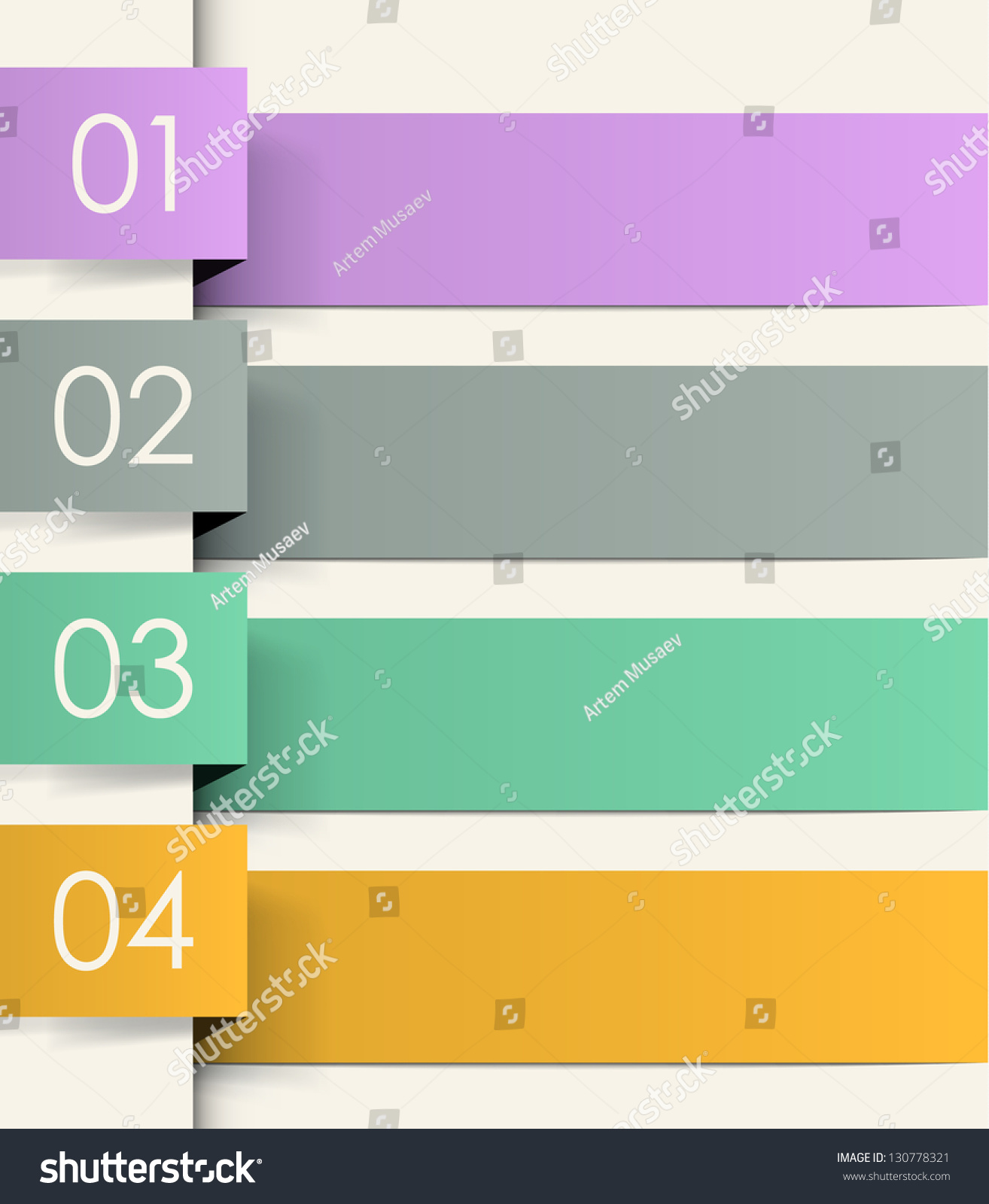 Four Colored Ribbons Numbers Cool Vector Stock Vector (2018 ...
