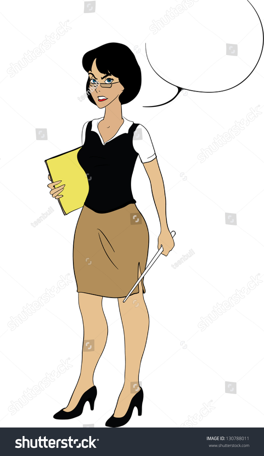 Lady Teacher Papers Pointer Cartoon Character Stock Illustration ...
