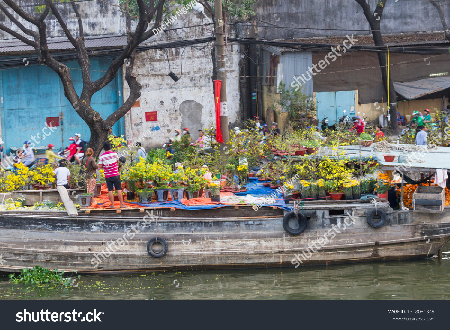 Binh Dong Floating Flower Market.Ho Chi Minh City Vietnam February 2 Stock Photo 1308081349