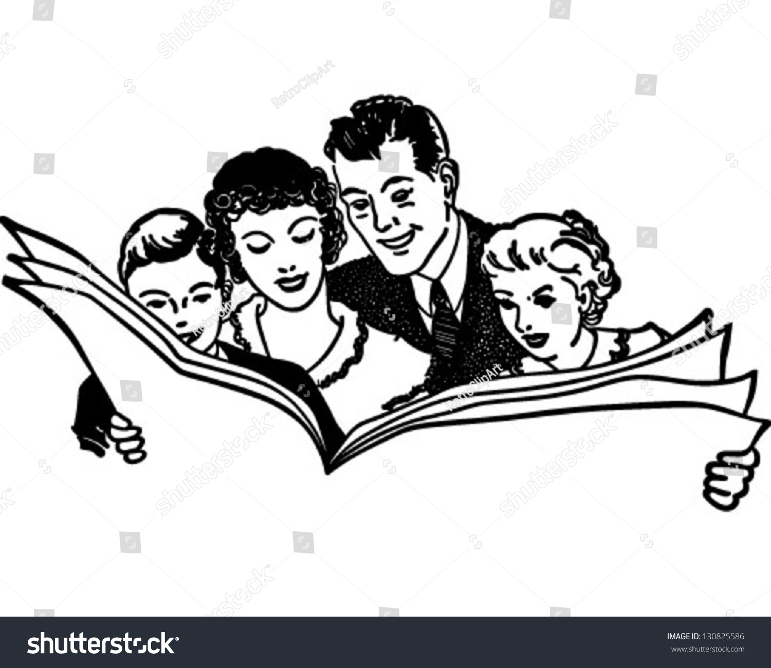 family reading newspaper retro clip art stock vector (royalty free