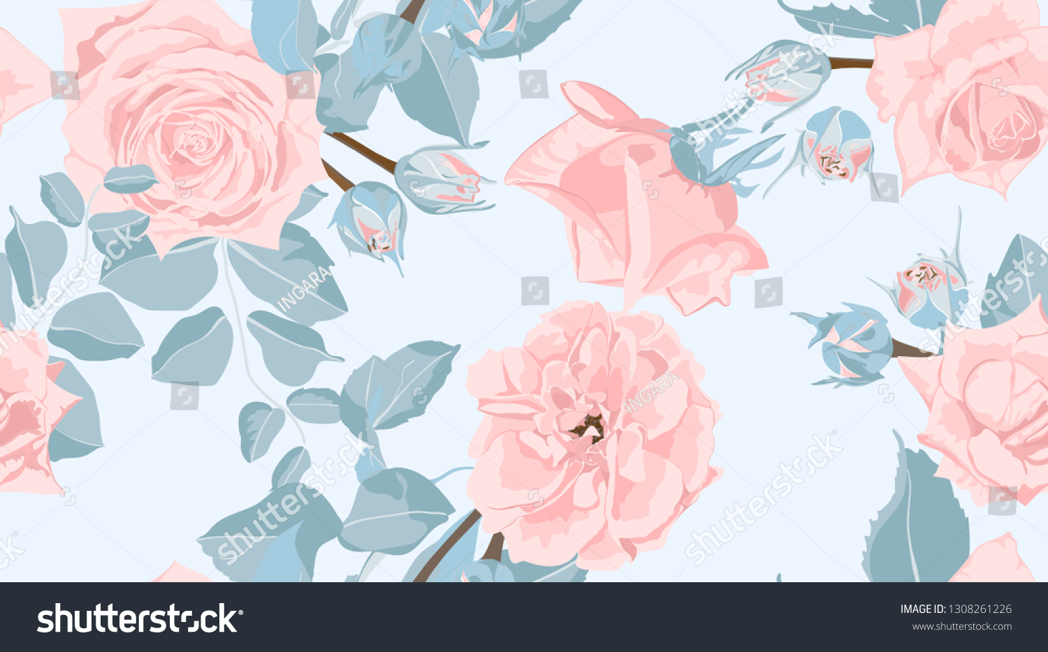 Tropical Floral Pastel Pattern