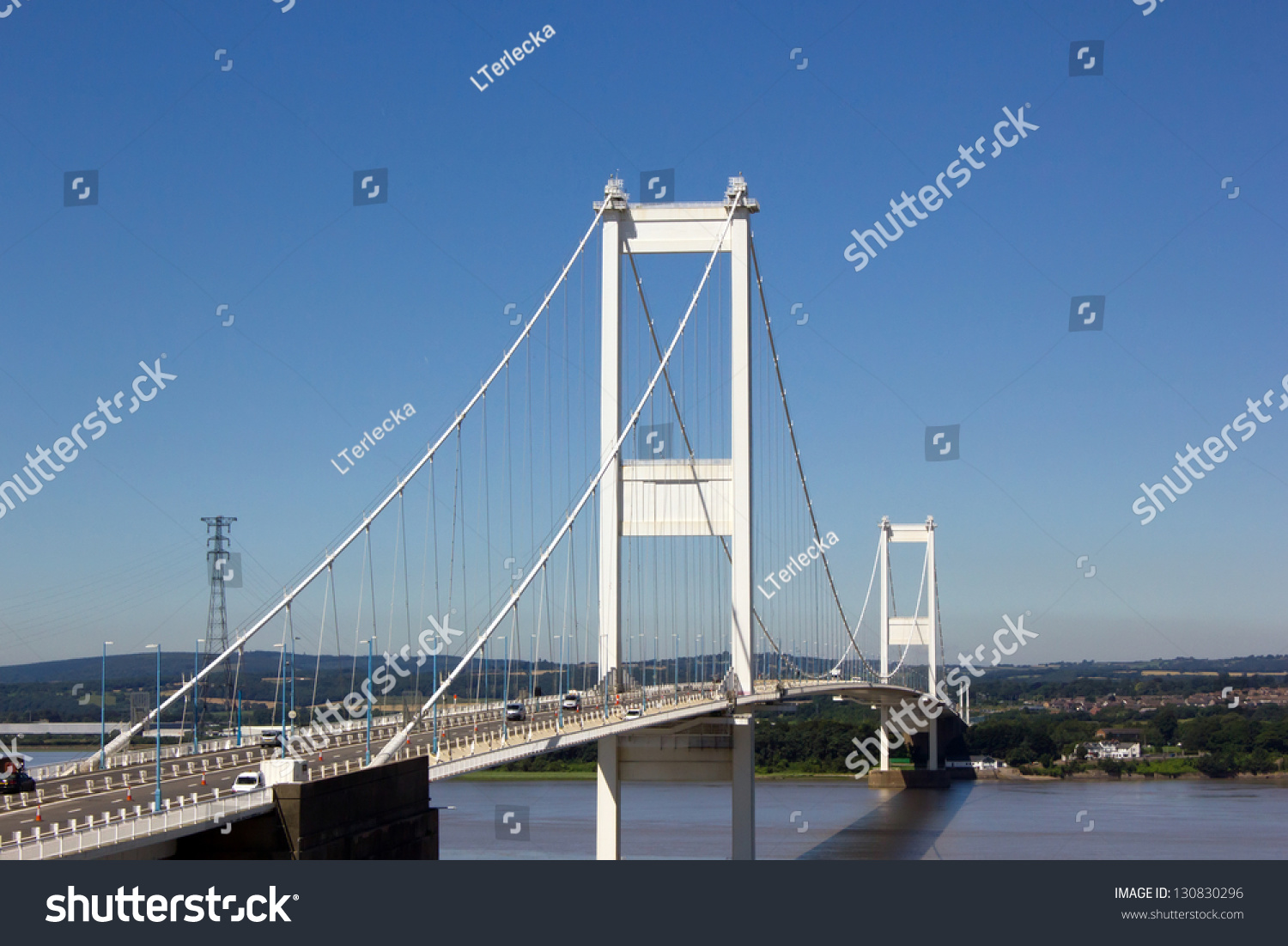 The Severn Bridge One Of Famous Motorway Suspension Bridges In England Spanning River And Wye