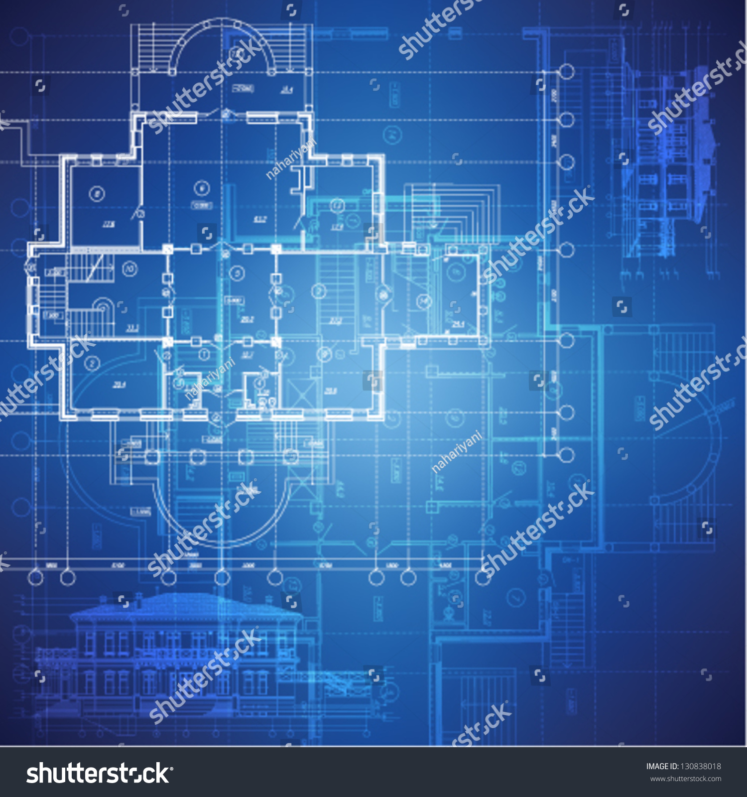 Urban Blueprint Vector Architectural Background Building
