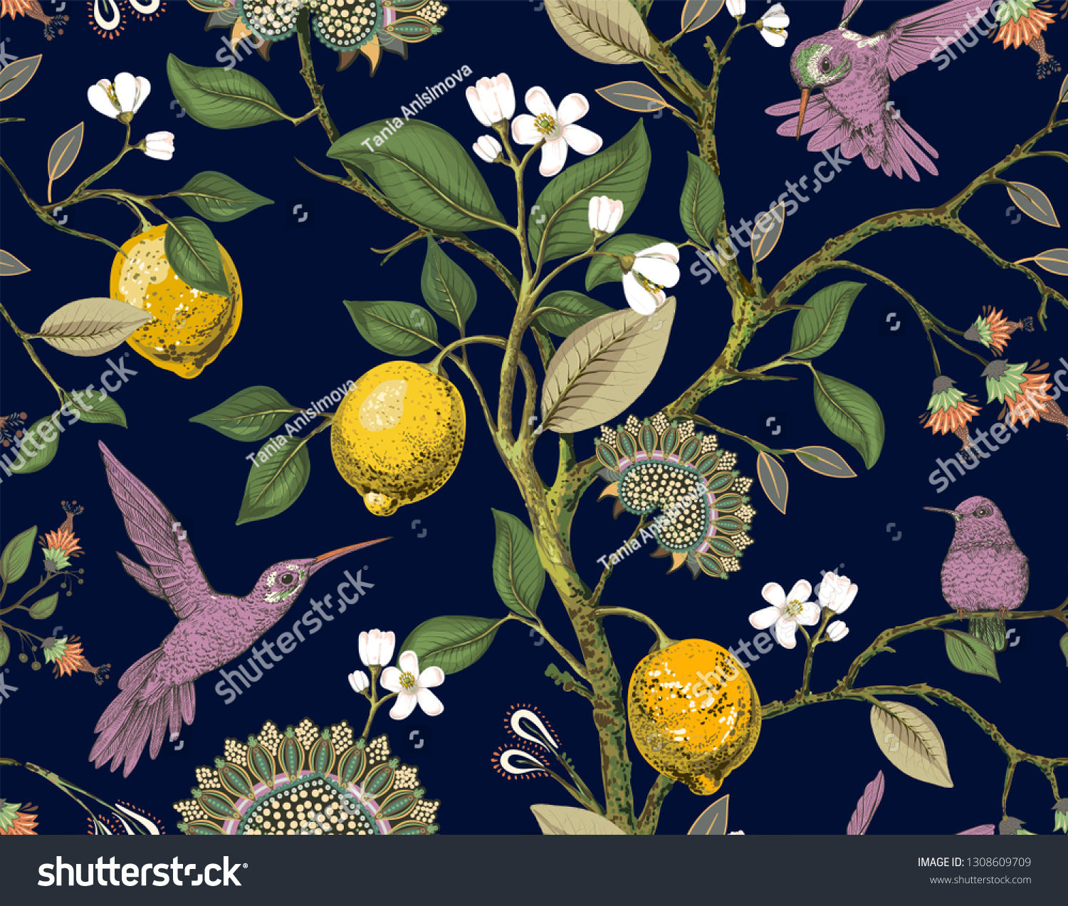 Floral Seamless Pattern Botanical Wallpaper Plants Stock
