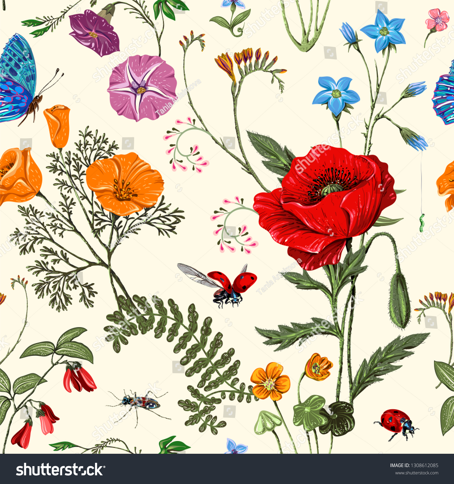 Summer Floral Seamless Pattern Botanical Wallpaper Stock