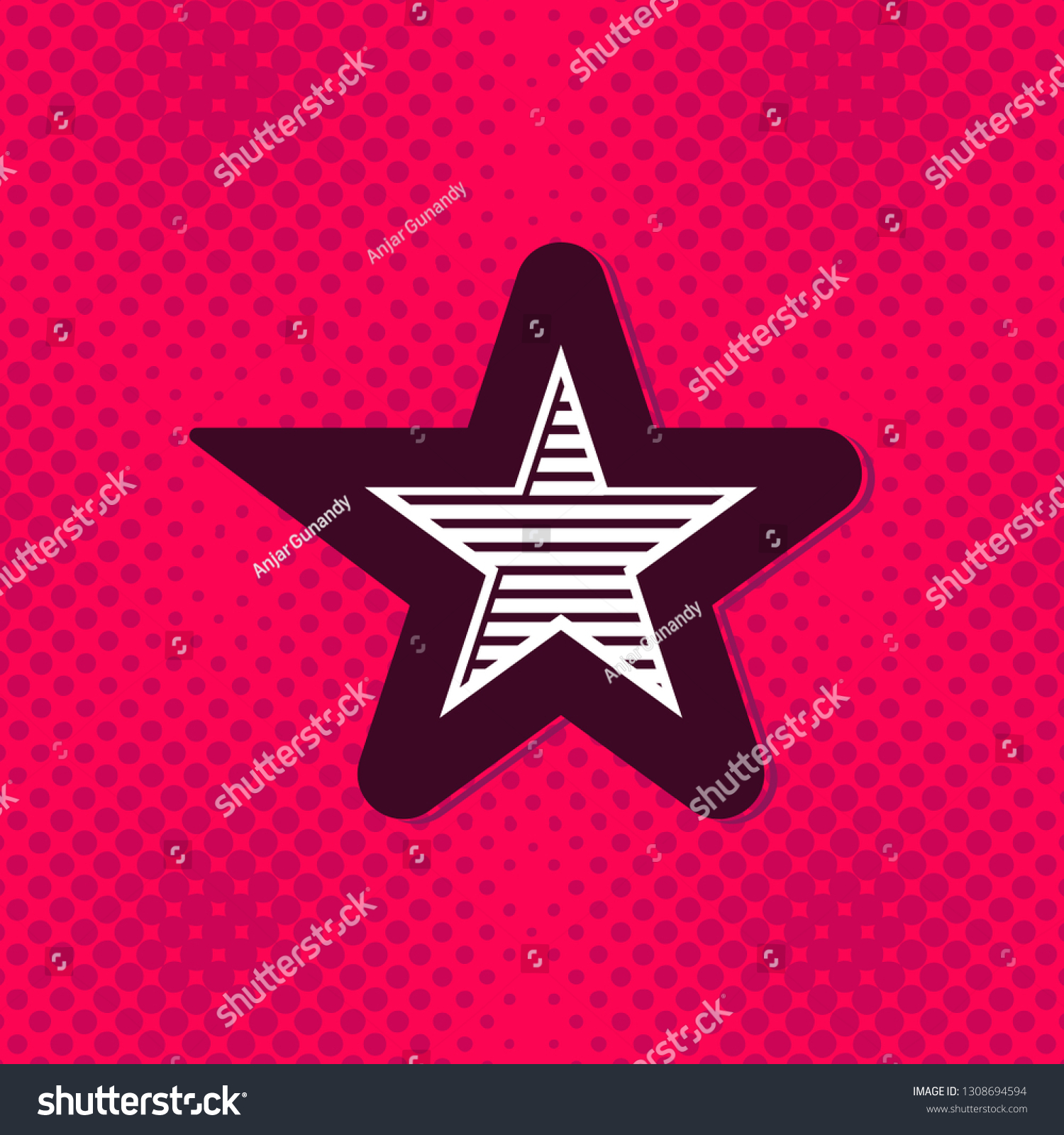 Star Vintage Monogram Logo Pop Art Stock Vector Royalty Free 1308694594