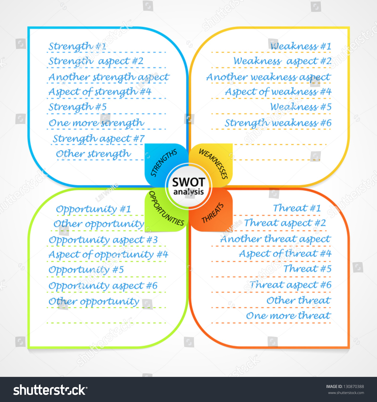 sheet swot analysis diagram wit space stock vector hd royalty free