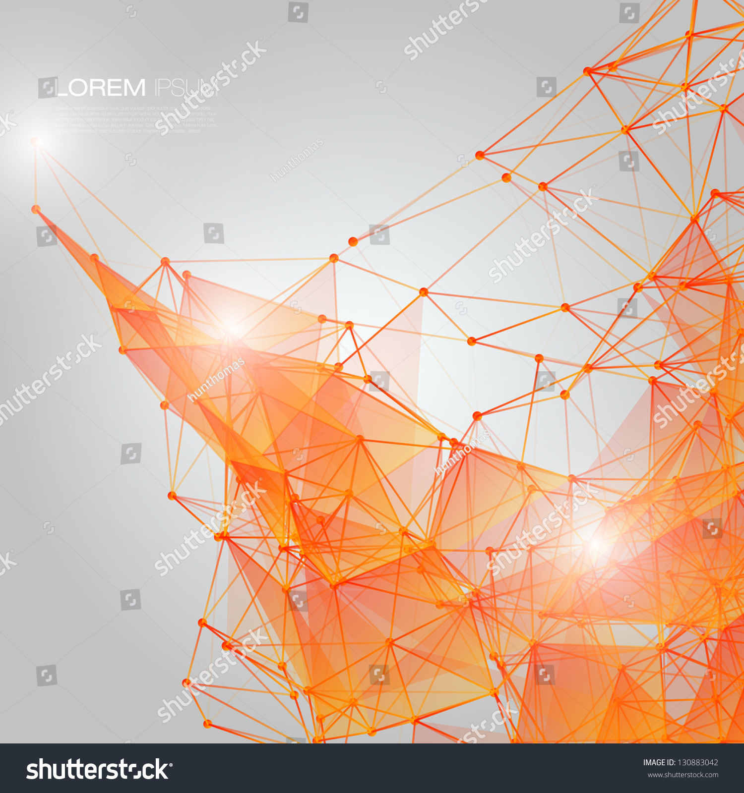 3d Orange Abstract Mesh Background Circles Stock Vector
