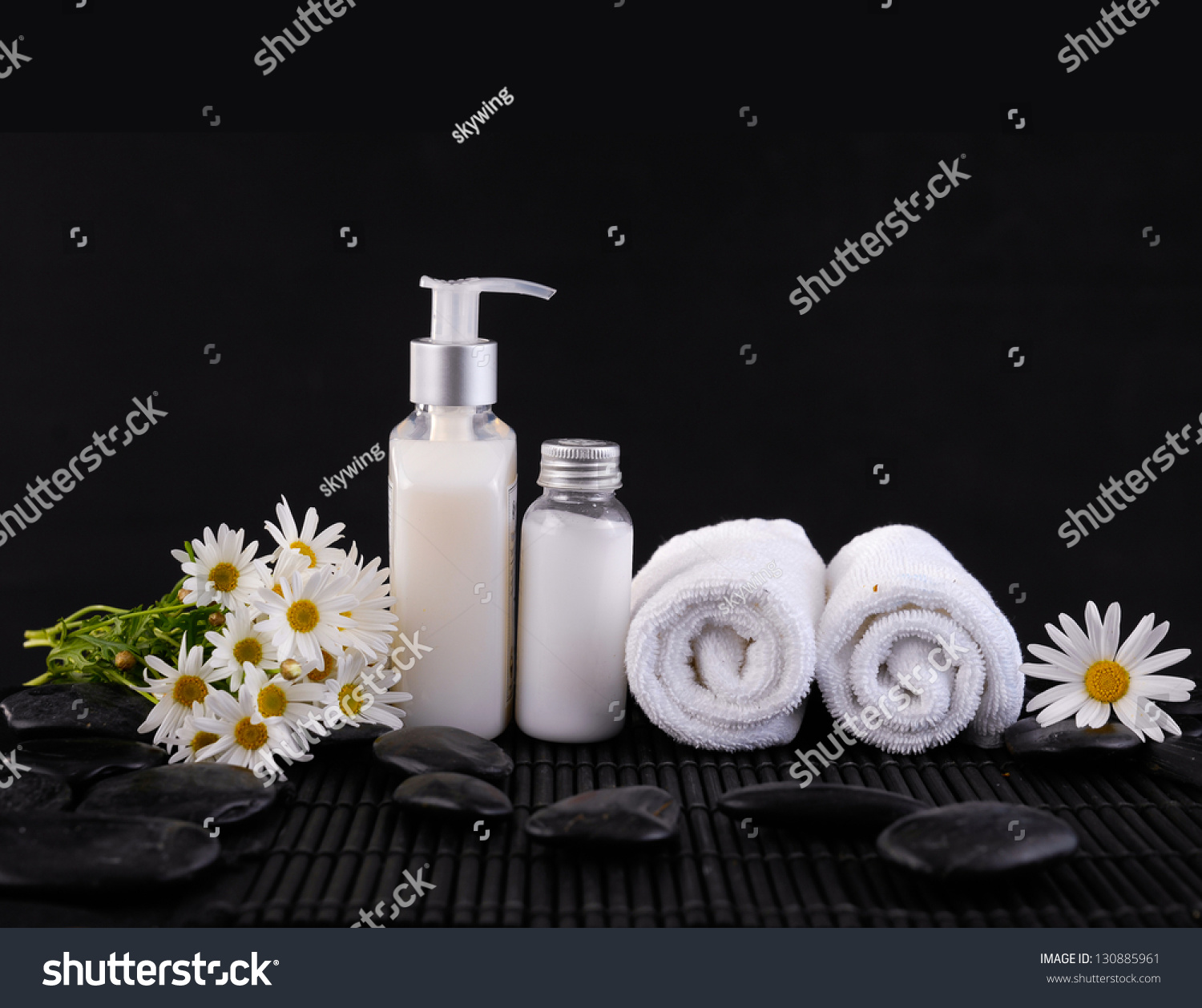 Spa Feeling With Branch White Flower Roller Towel Pebbles Oil