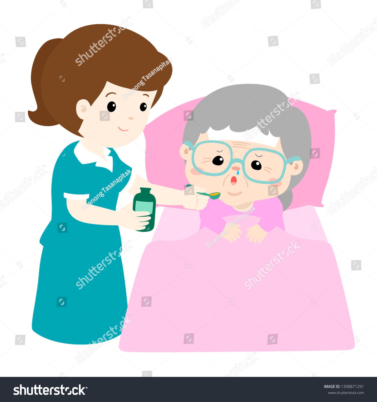 Nursing Assistant Giving Grandmother Medicine Vector Stock Vector Royalty Free 1308871291