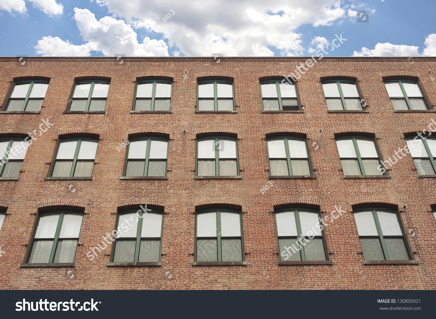 Facade Old Red Brick Apartment Building Stock Photo Brick Apartment Building