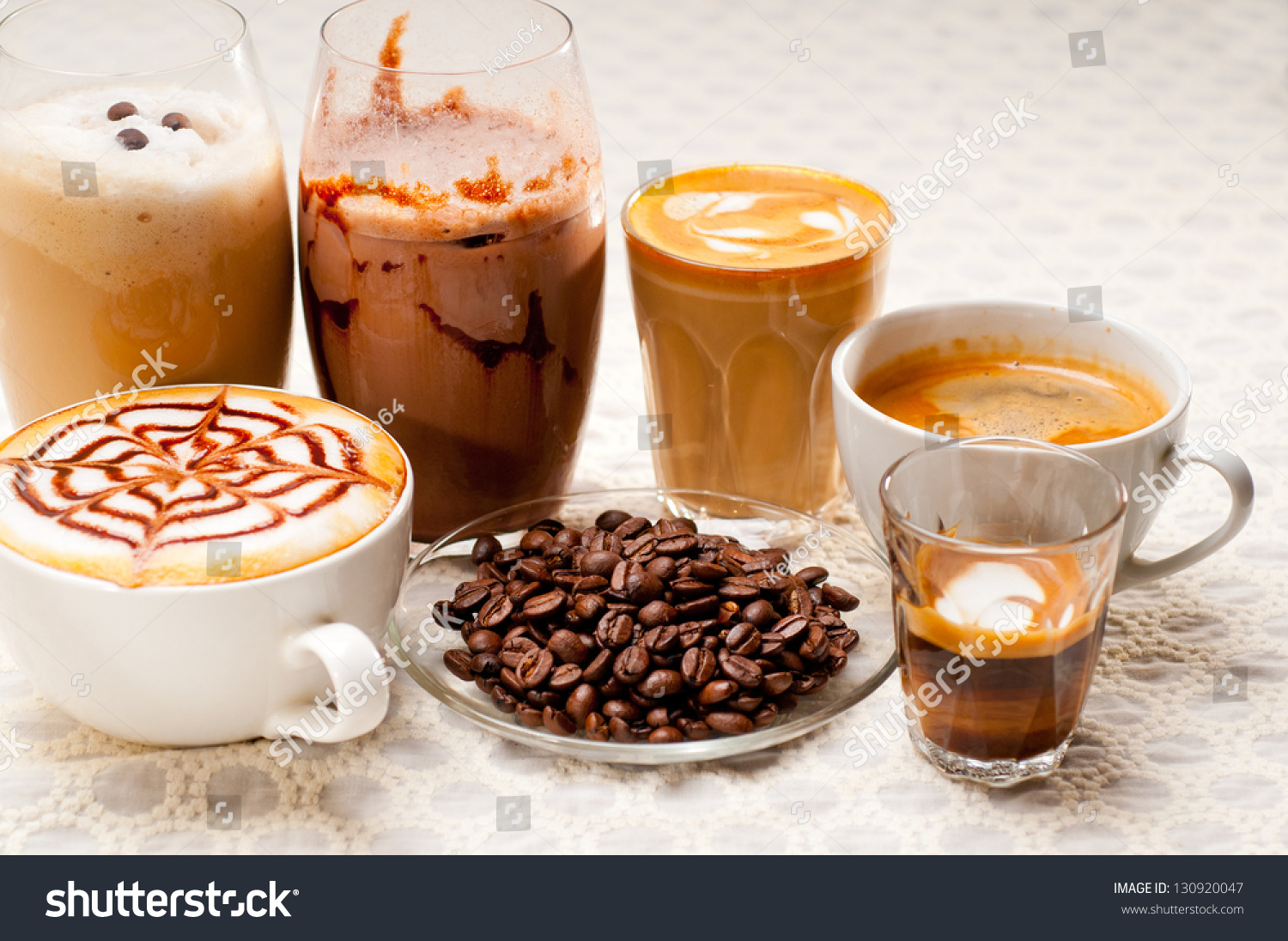 English In Italian: Group Selection Of Different Italian Coffee Type Stock