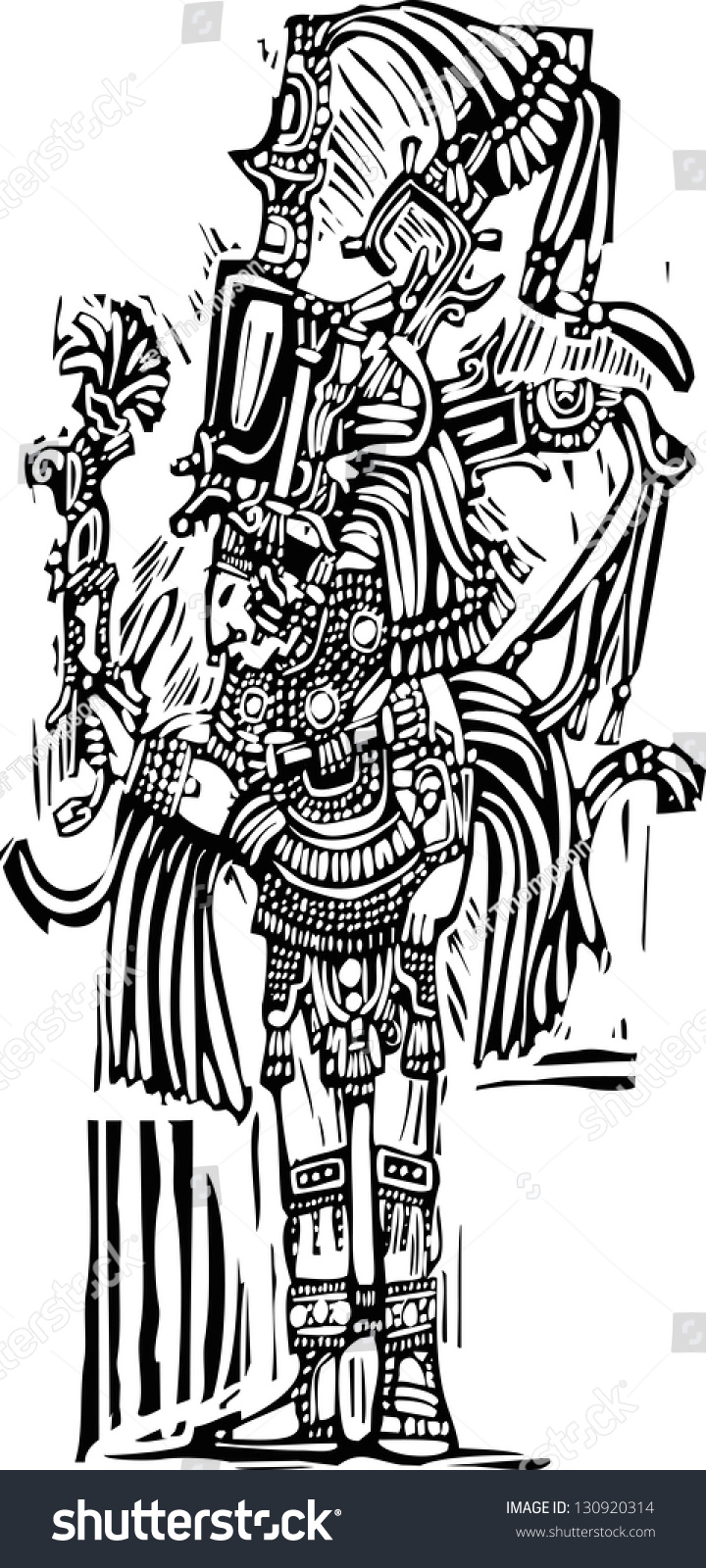 mayan warrior designed after mayan pottery stock illustration